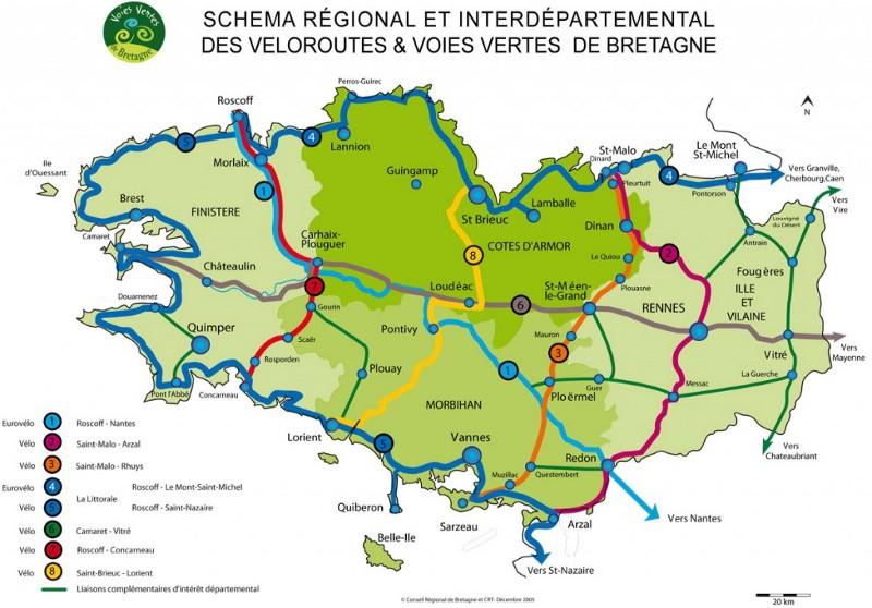 Carte des voies vertes accessibles au VTT en Bretagne